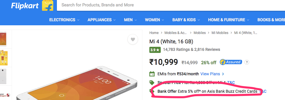 discount on flipkart