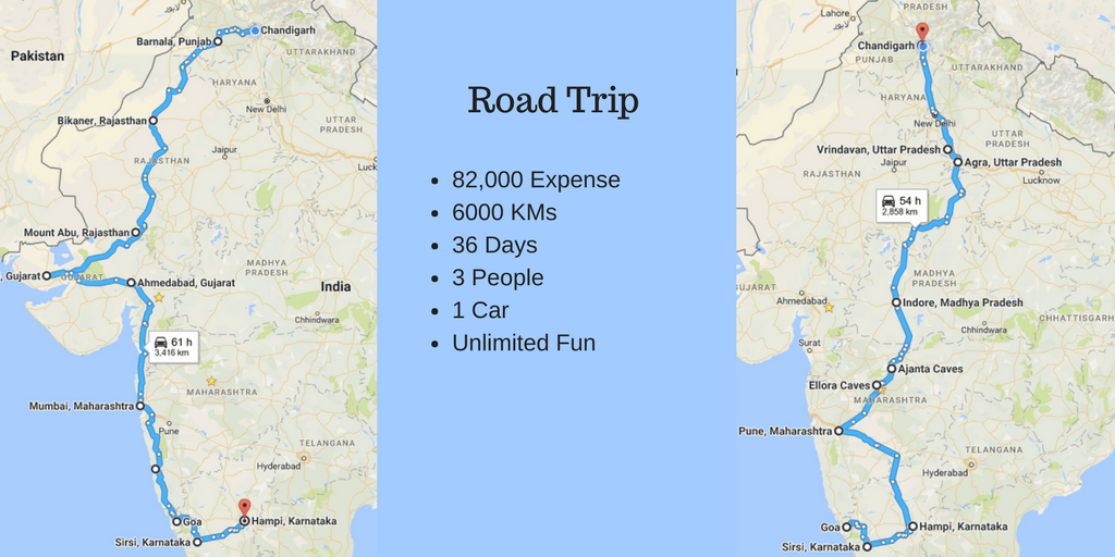 36 Days of Road Trip by Car – Travelled 6000 KMs and Spent Rs. 82000