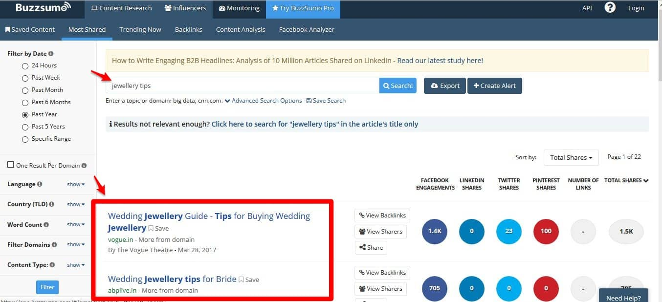 BuzzSumo to find keywords and popular articles for your online store product