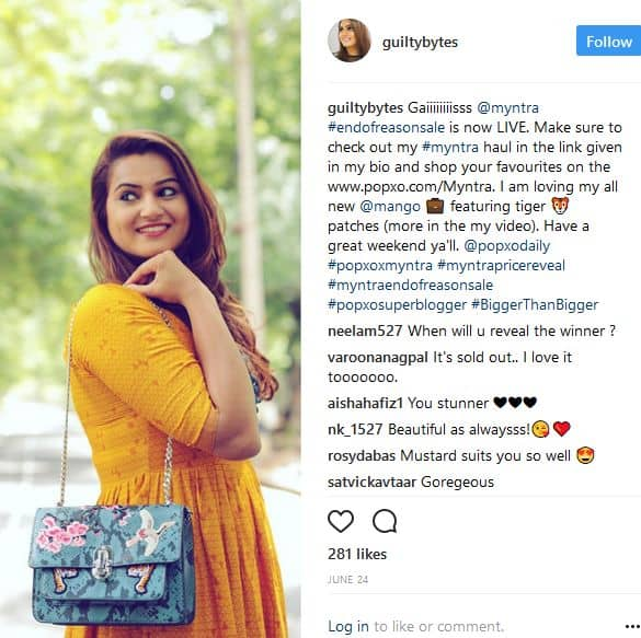 Marketing Products through Instagram Influencer Devina Malhotra Of Guilty Bytes