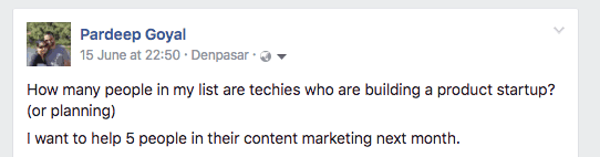 Talking to potential customers in Facebook