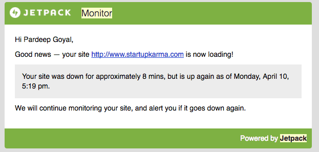 Jetpack Monitoring service to track website uptime