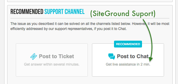 Siteground chat assistance