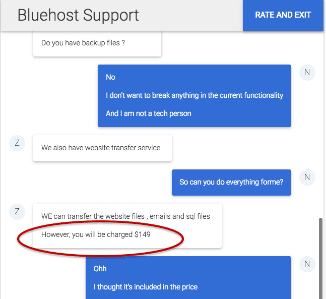 bluehost charge for website transfer