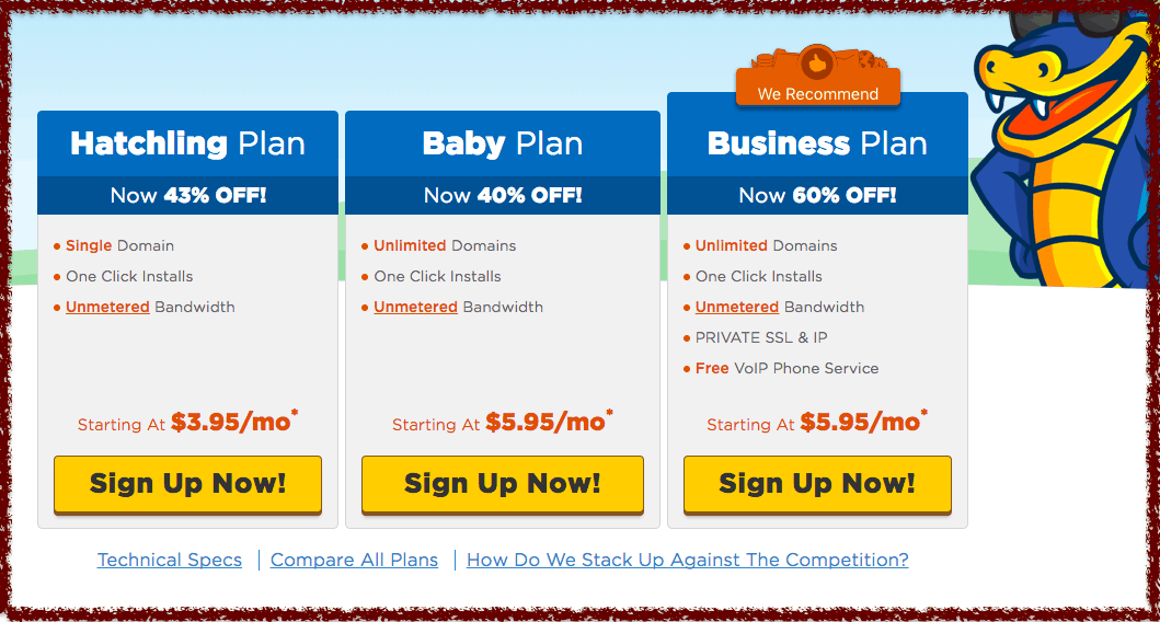hostgator regular discounted pricing