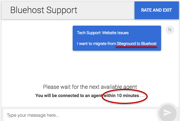 waiting time on bluehost