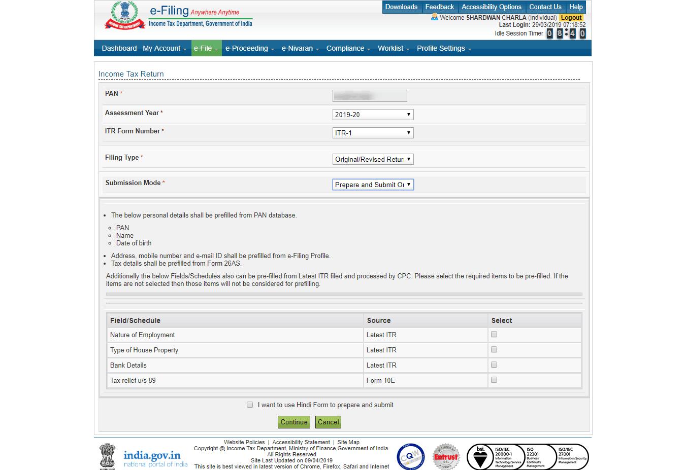 IT Returns e-filing Pre filled information