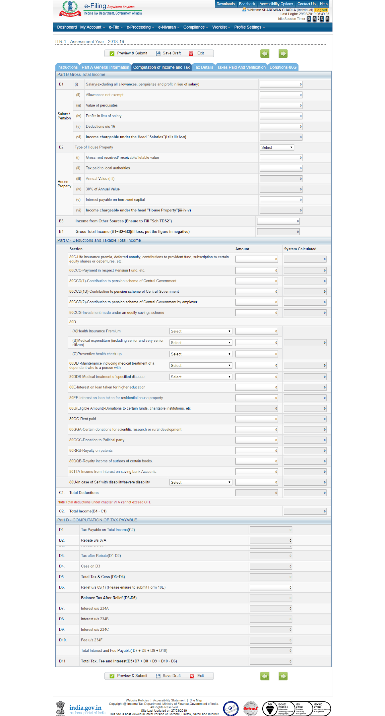 Computation of Income and Tax