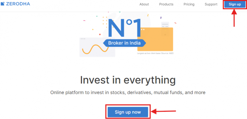 Account opening webpage for Zerodha
