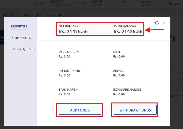 Balance check and option to transfer money