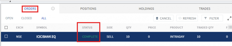 Check order book for trade placed