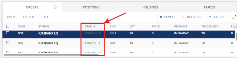 Check order book for all the trade status