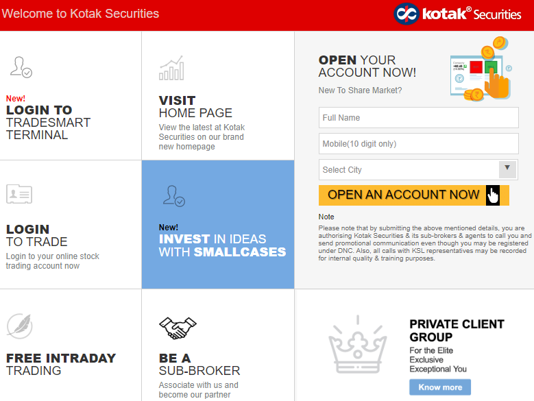 Kotak Securities home page