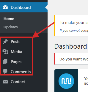 WP- Post, Media, Pages & Comment Tab