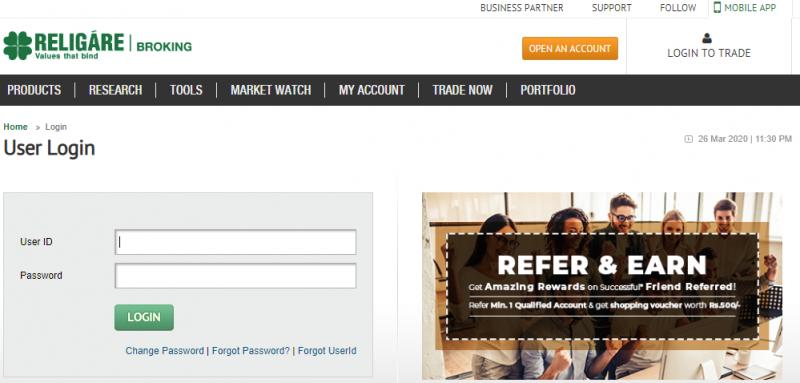 Religare Web Portal trading platform