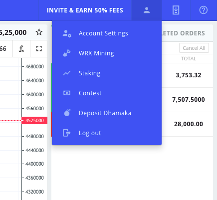 WazirX Account setting