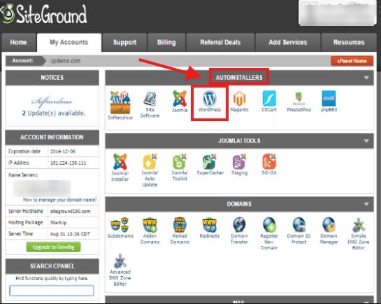 Siteground install WP