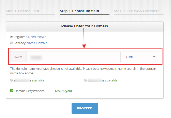 Siteground choose a domain name