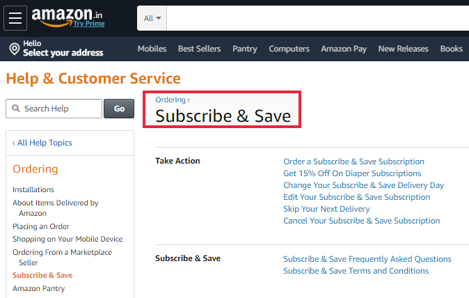 Amazon Subscribe And Save Subscription