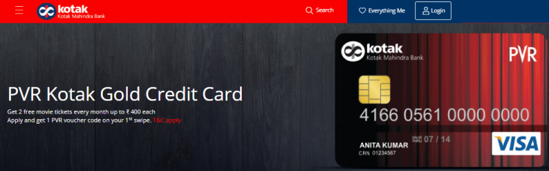 Kotak PVR Gold Credit Card - Specialized Dining & Movies Credit Cards