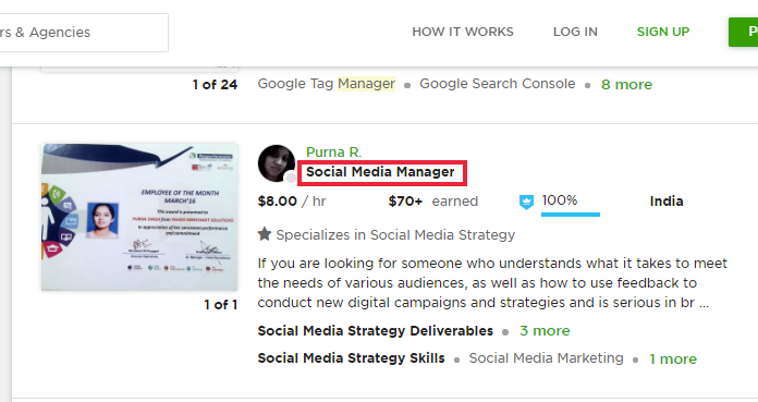 Social Media Manager Job example