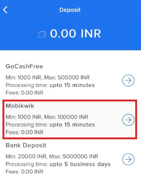 click on the deposit tab and select Mobikwik to add money