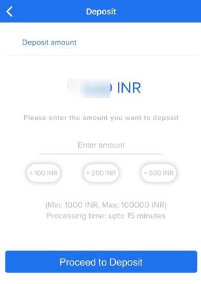 Click Proceed to Deposit on Zebpay