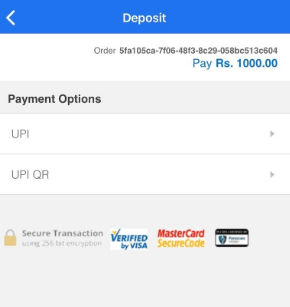 Zebpay choose from UPI or UPI QR