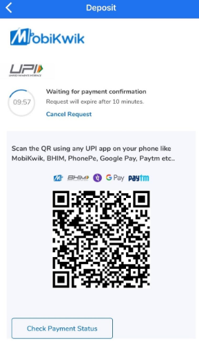 Deposit using UPI QR