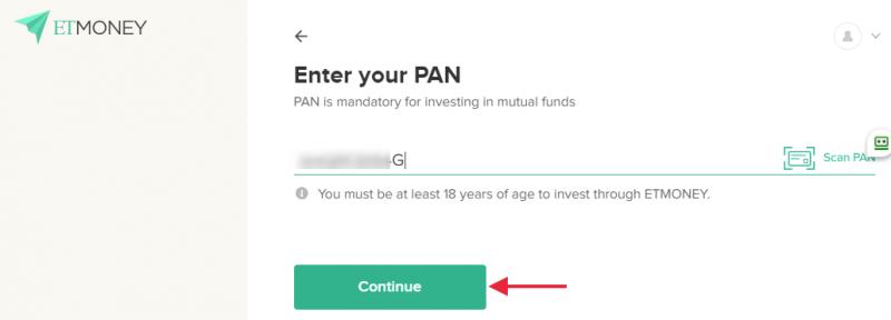 ETMONEY - enter PAN details