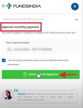 FundsIndia - Approve payment