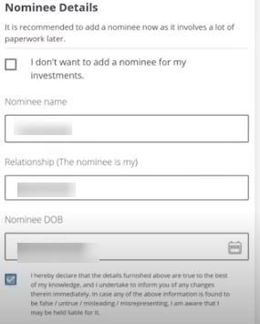 FundsIndia Nominee details