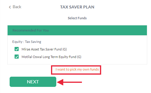 Scripbox- Option to Change Funds and Amount