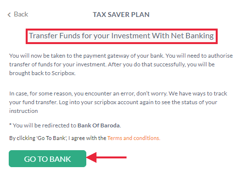 Scripbox- net banking or the UPI payment portal