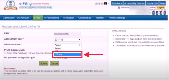 Select the ITR 4S form from the dropdown menu