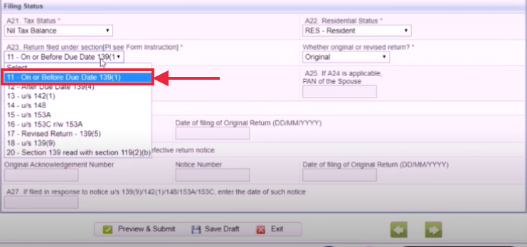 "Select the option ""ON or before the Due Date"" option for return filing"