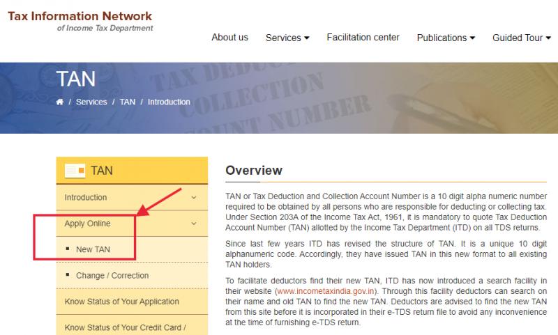 Online application for TAN on NSDL-TIN website