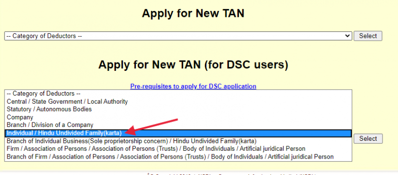 Select Individual or Firm for deductors category