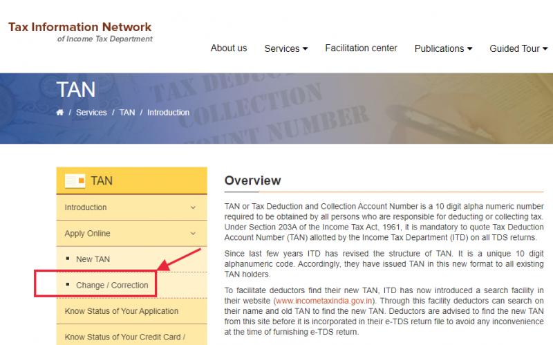 Visit NSDL-TIN website for TAN correction.