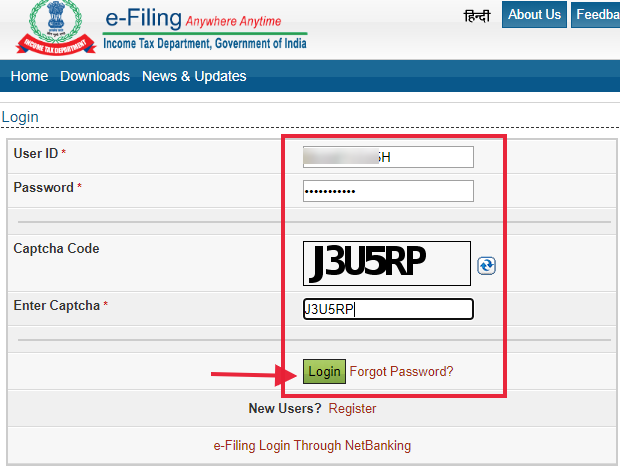 Log in by providing your TAN  number as User ID, password