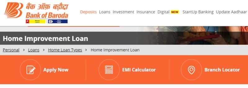 Bank of Baroda Home Improvement Loan