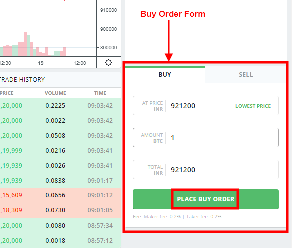 Bitcoin buy order form