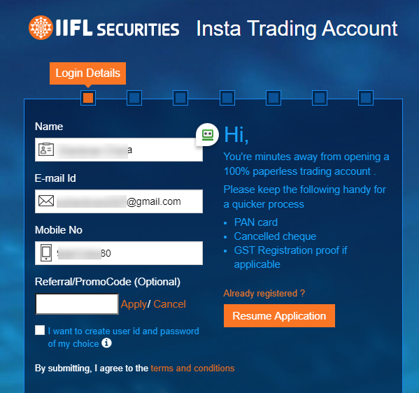 Start the IIFL online demat application with login creation