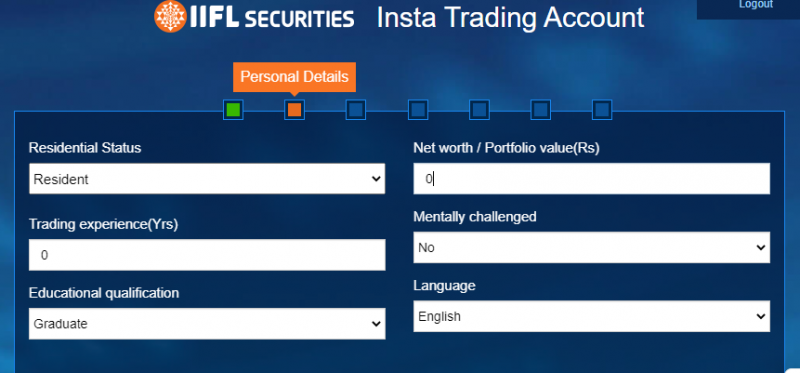 Fill in your trading experience, qualification and residential status