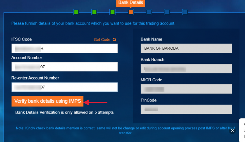 IIFL demat account opening - Fill in the Bank Details
