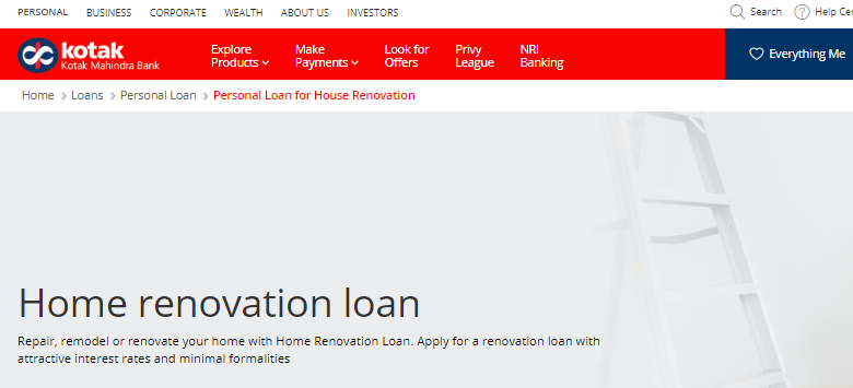 Kotak Home Renovation Loan
