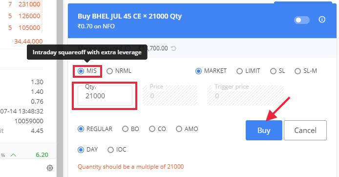 Options buy order form