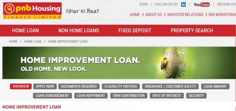 PNB Housing Finance Home Improvement Loan