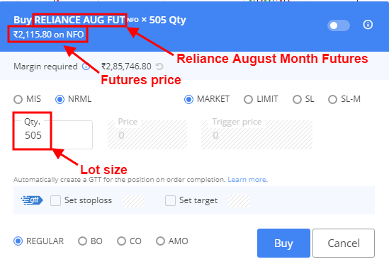 Reliance August Futures