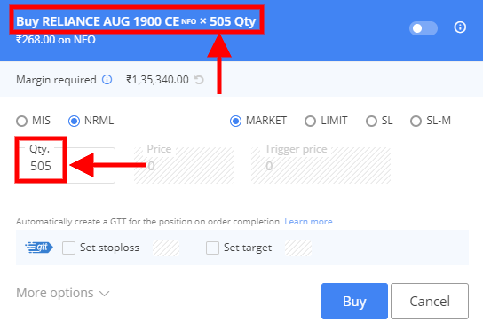 Reliance Call Option with underlying 505 shares